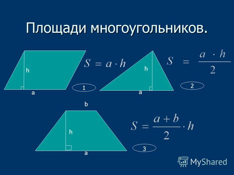 Площади многоугольников. а h a h b а h 1 2 3
