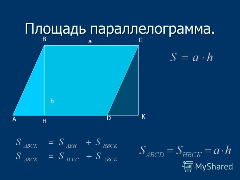 Площадь параллелограмма. А В С D H K a h