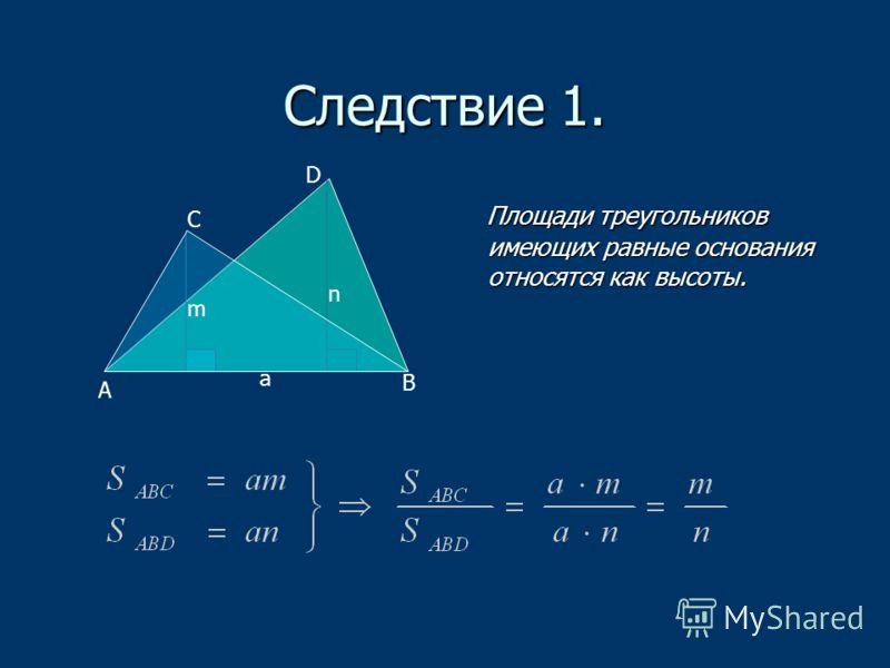 Следствие 1. Площади треугольников имеющих равные основания относятся как высоты. Площади треугольников имеющих равные основания относятся как высоты. а m n A B C D