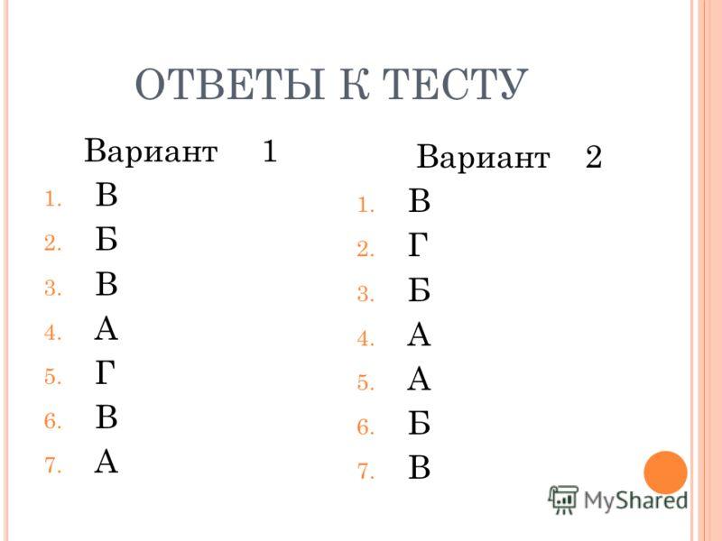 ОТВЕТЫ К ТЕСТУ Вариант 1 1. В 2. Б 3. В 4. А 5. Г 6. В 7. А Вариант 2 1. В 2. Г 3. Б 4. А 5. А 6. Б 7. В