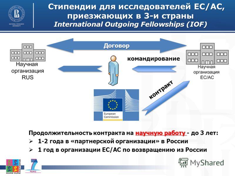 Стипендии для исследователей ЕС/АС, приезжающих в 3-и страны International Outgoing Fellowships (IOF) научную работу Продолжительность контракта на научную работу - до 3 лет: 1-2 года в «партнерской организации» в России 1 год в организации ЕС/АС по