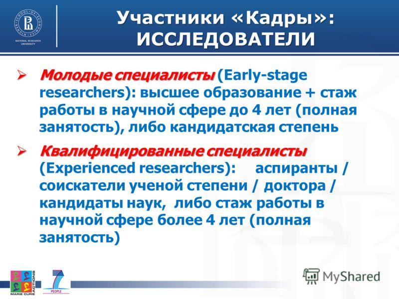 Участники «Кадры»: ИССЛЕДОВАТЕЛИ Молодые специалисты Молодые специалисты (Early-stage researchers): высшее образование + стаж работы в научной сфере до 4 лет (полная занятость), либо кандидатская степень Квалифицированные специалисты Квалифицированны