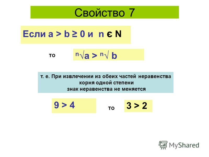Свойство 7 то na > n b т. е. При извлечении из обеих частей неравенства корня одной степени знак неравенства не меняется Если а > b 0 и n є N 3 > 2 то 9 > 4