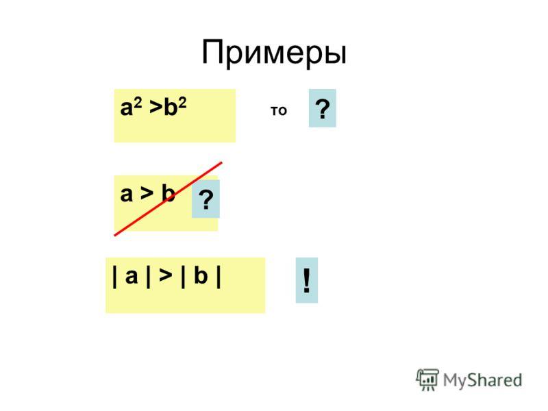 Примеры a 2 >b 2 то ? a > b ? | a | > | b | !