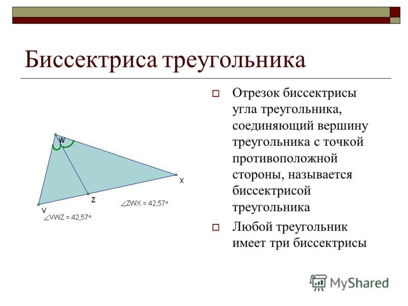 Биссектриса треугольника Отрезок биссектрисы угла треугольника, соединяющий вершину треугольника с точкой противоположной стороны, называется биссектрисой треугольника Любой треугольник имеет три биссектрисы
