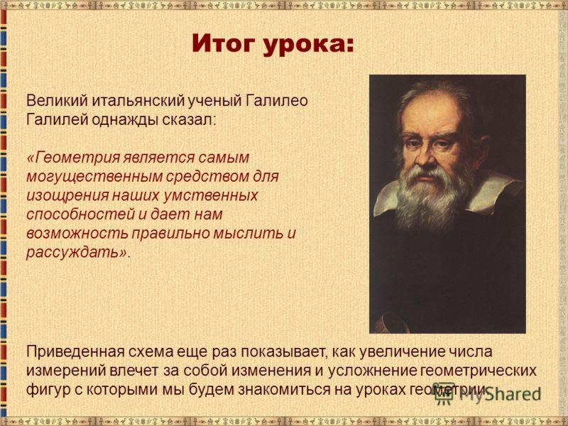 Великий итальянский ученый Галилео Галилей однажды сказал: «Геометрия является самым могущественным средством для изощрения наших умственных способностей и дает нам возможность правильно мыслить и рассуждать». Итог урока: Приведенная схема еще раз по