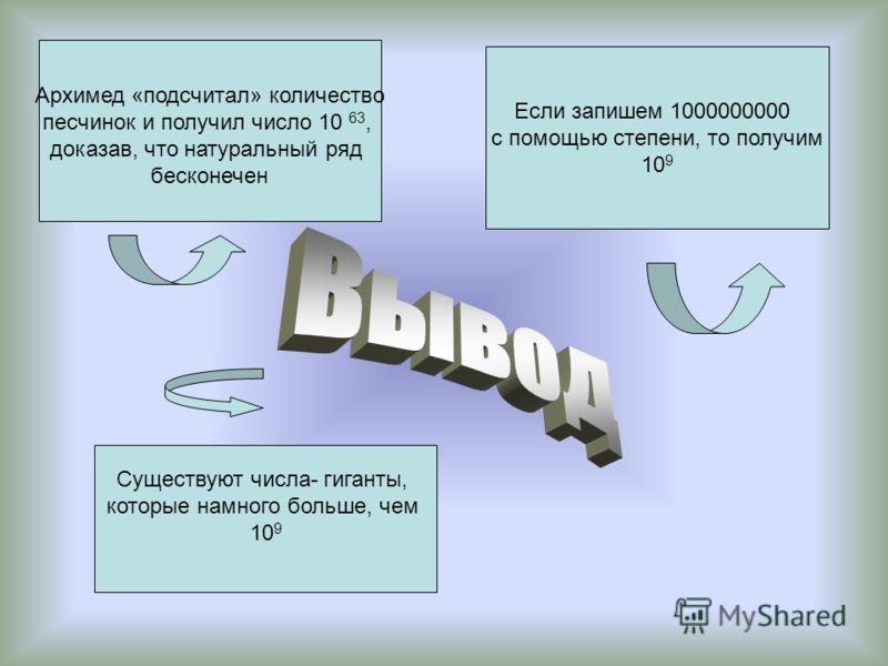 Если запишем 1000000000 с помощью степени, то получим 10 9 Архимед «подсчитал» количество песчинок и получил число 10 63, доказав, что натуральный ряд бесконечен Существуют числа- гиганты, которые намного больше, чем 10 9