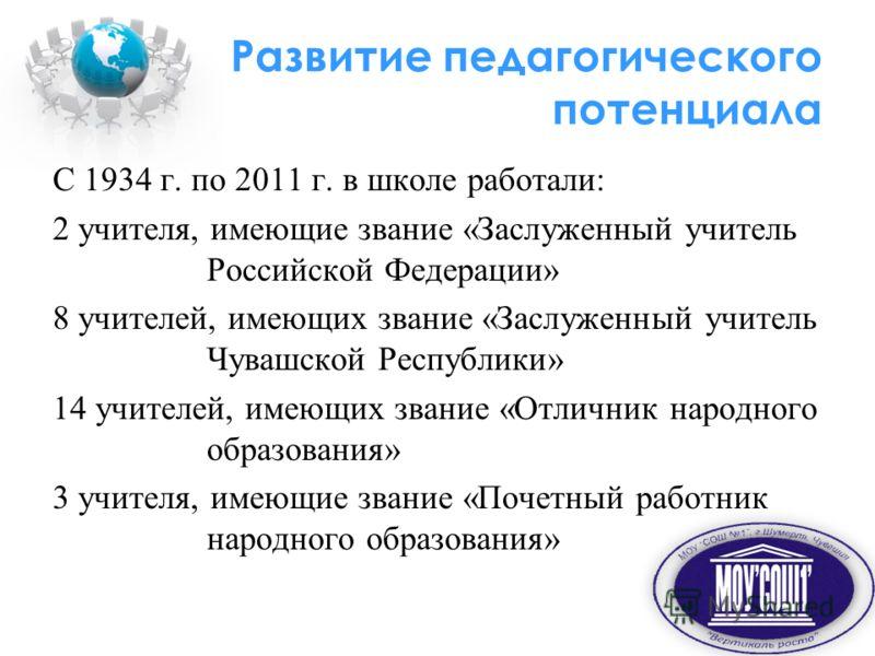 Развитие педагогического потенциала С 1934 г. по 2011 г. в школе работали: 2 учителя, имеющие звание «Заслуженный учитель Российской Федерации» 8 учителей, имеющих звание «Заслуженный учитель Чувашской Республики» 14 учителей, имеющих звание «Отлични