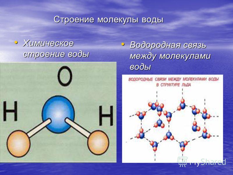Строение молекулы воды Строение молекулы воды Химическое строение воды Химическое строение воды Водородная связь между молекулами воды Водородная связь между молекулами воды