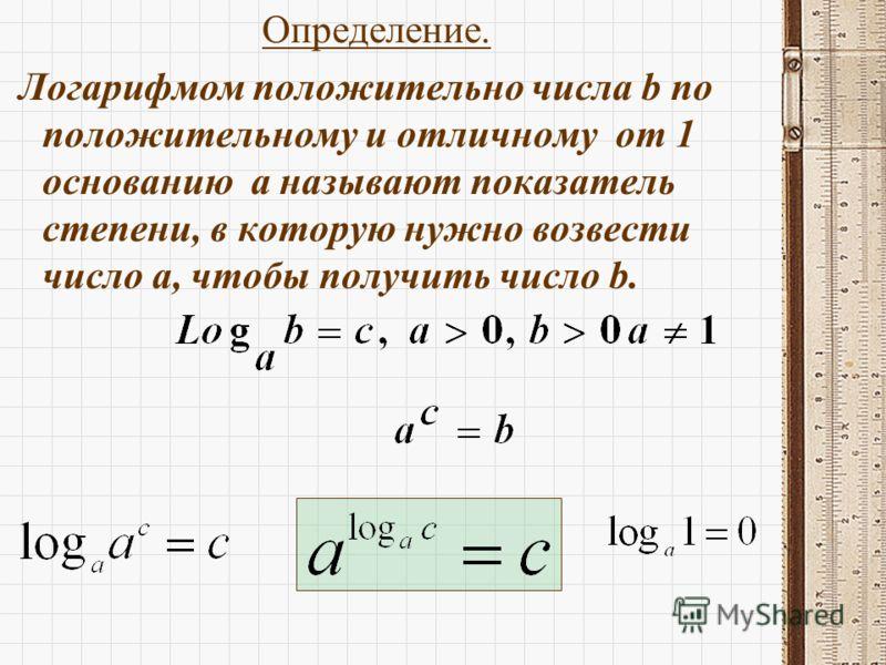 Определение. Логарифмом положительно числа b по положительному и отличному от 1 основанию а называют показатель степени, в которую нужно возвести число а, чтобы получить число b.