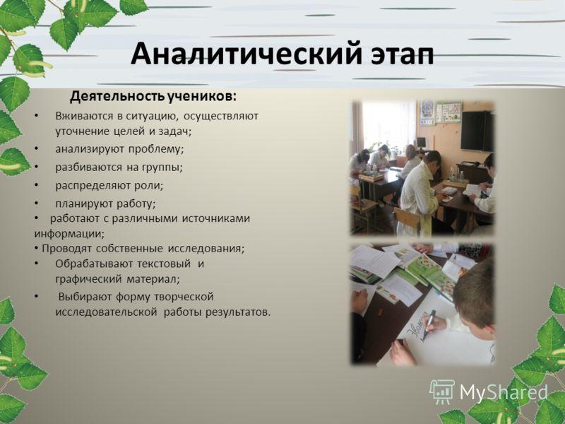Аналитический этап Деятельность учеников: Вживаются в ситуацию, осуществляют уточнение целей и задач; анализируют проблему; разбиваются на группы; распределяют роли; планируют работу; работают с различными источниками информации; Проводят собственные