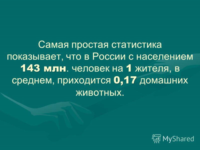 143 млн1 0,17 Самая простая статистика показывает, что в России с населением 143 млн. человек на 1 жителя, в среднем, приходится 0,17 домашних животных.