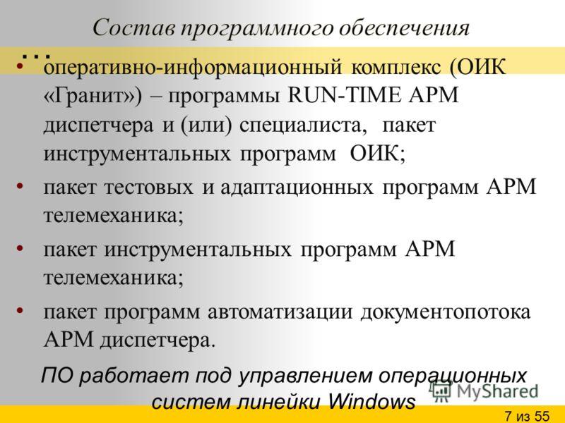 оперативно-информационный комплекс (ОИК «Гранит») – программы RUN-TIME АРМ диспетчера и (или) специалиста, пакет инструментальных программ ОИК; пакет тестовых и адаптационных программ АРМ телемеханика; пакет инструментальных программ АРМ телемеханика