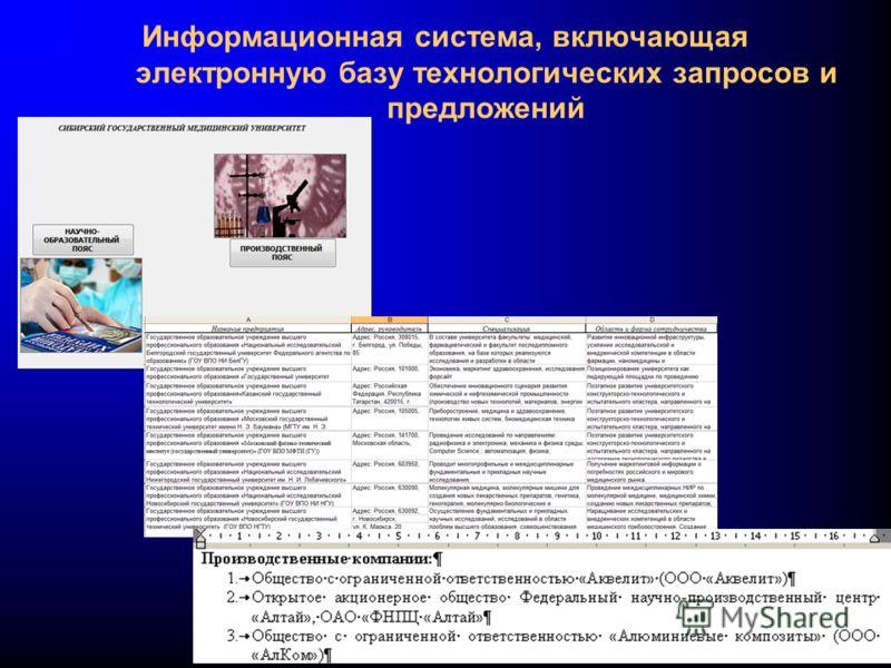 Информационная система, включающая электронную базу технологических запросов и предложений