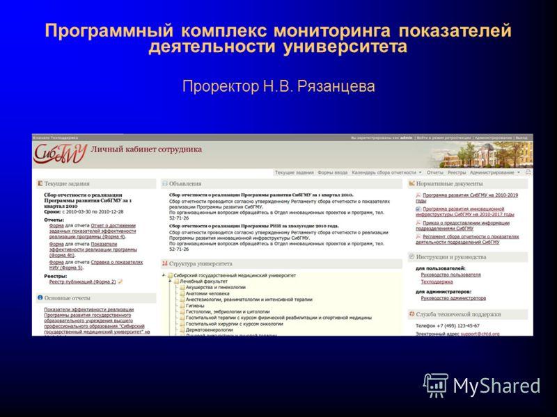 Программный комплекс мониторинга показателей деятельности университета Проректор Н.В. Рязанцева