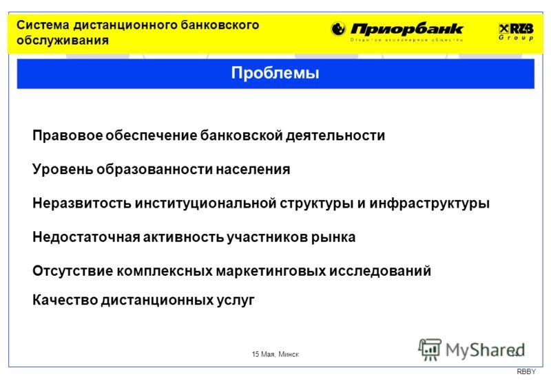 RBBY 15 Мая, Минск 14 Правовое обеспечение банковской деятельности Уровень образованности населения Неразвитость институциональной структуры и инфраструктуры Недостаточная активность участников рынка Отсутствие комплексных маркетинговых исследований