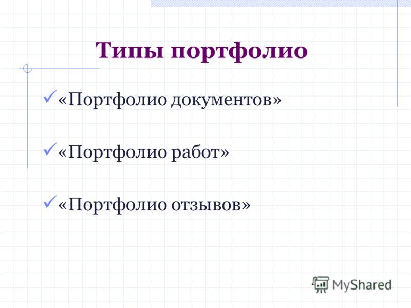 Типы портфолио «Портфолио документов» «Портфолио работ» «Портфолио отзывов»