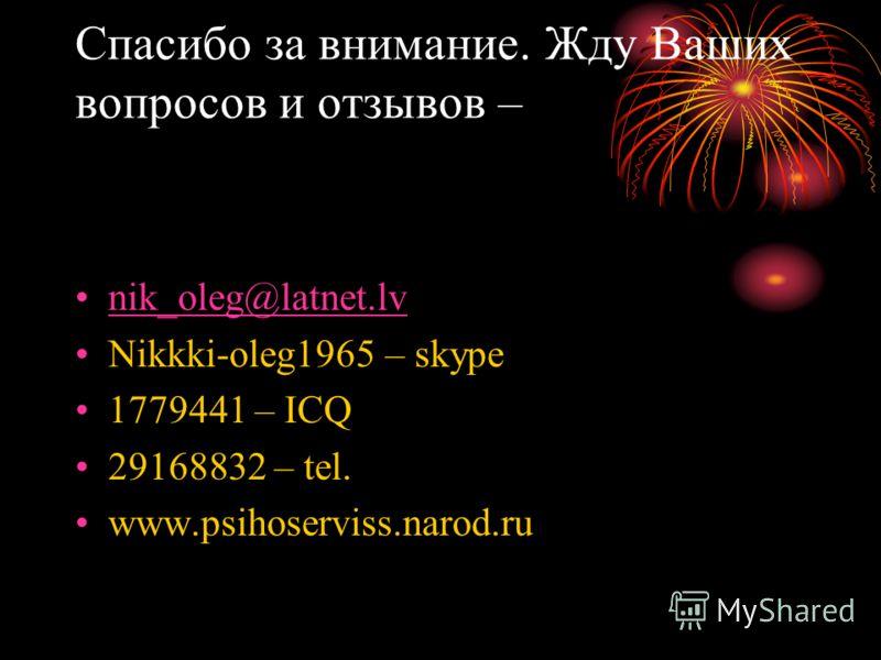 Спасибо за внимание. Жду Ваших вопросов и отзывов – nik_oleg@latnet.lvik_oleg@latnet.lv Nikkki-oleg1965 – skype 1779441 – ICQ 29168832 – tel. www.psihoserviss.narod.ru