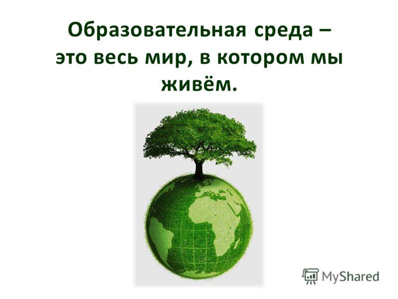 Образовательная среда – это весь мир, в котором мы живём.