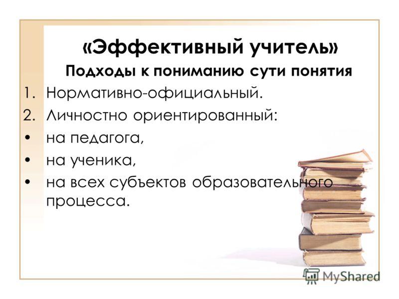 «Эффективный учитель» Подходы к пониманию сути понятия 1.Нормативно-официальный. 2.Личностно ориентированный: на педагога, на ученика, на всех субъектов образовательного процесса.
