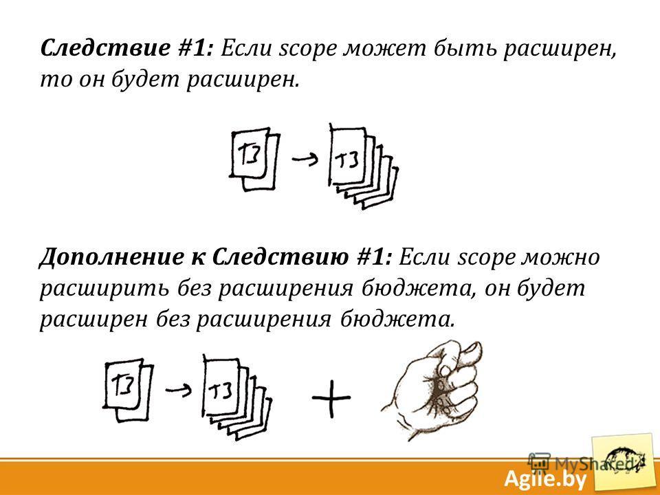 Следствие #1: Если scope может быть расширен, то он будет расширен. Дополнение к Следствию #1: Если scope можно расширить без расширения бюджета, он будет расширен без расширения бюджета.