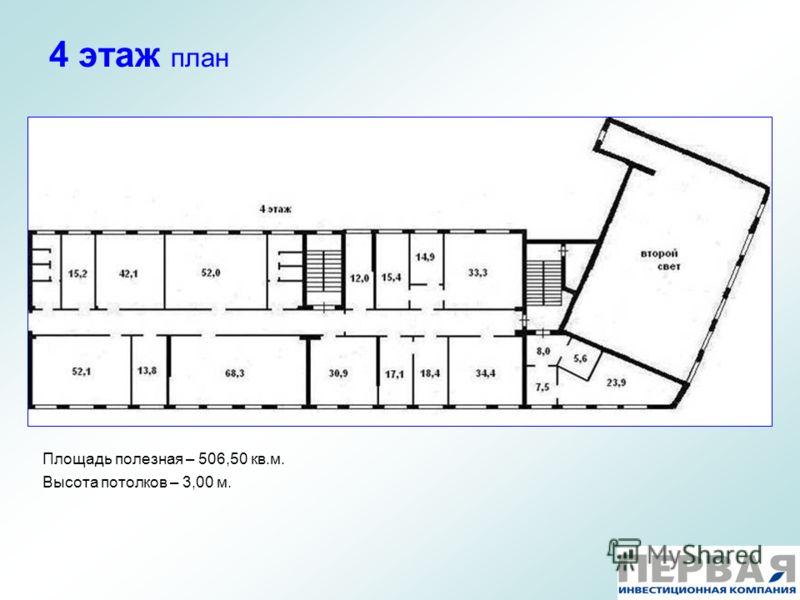 4 этаж план Площадь полезная – 506,50 кв.м. Высота потолков – 3,00 м.