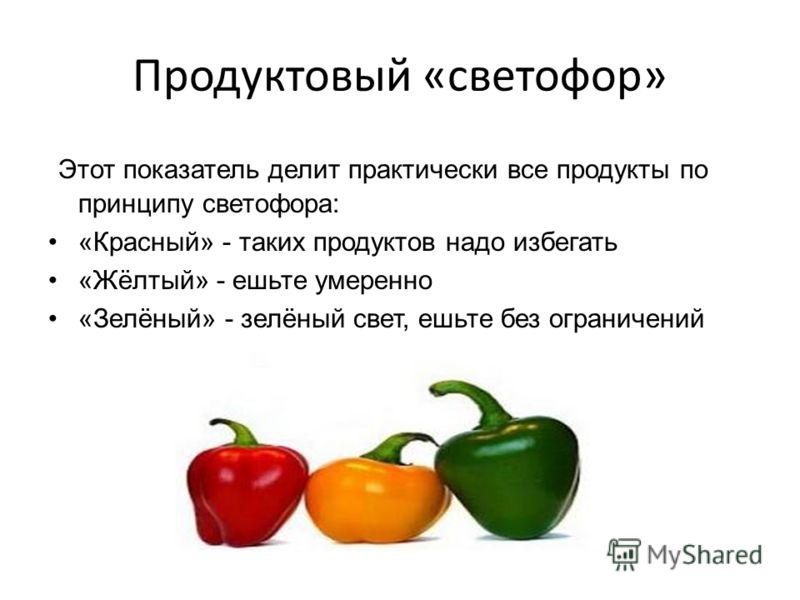 Продуктовый «светофор» Этот показатель делит практически все продукты по принципу светофора: «Красный» - таких продуктов надо избегать «Жёлтый» - ешьте умеренно «Зелёный» - зелёный свет, ешьте без ограничений