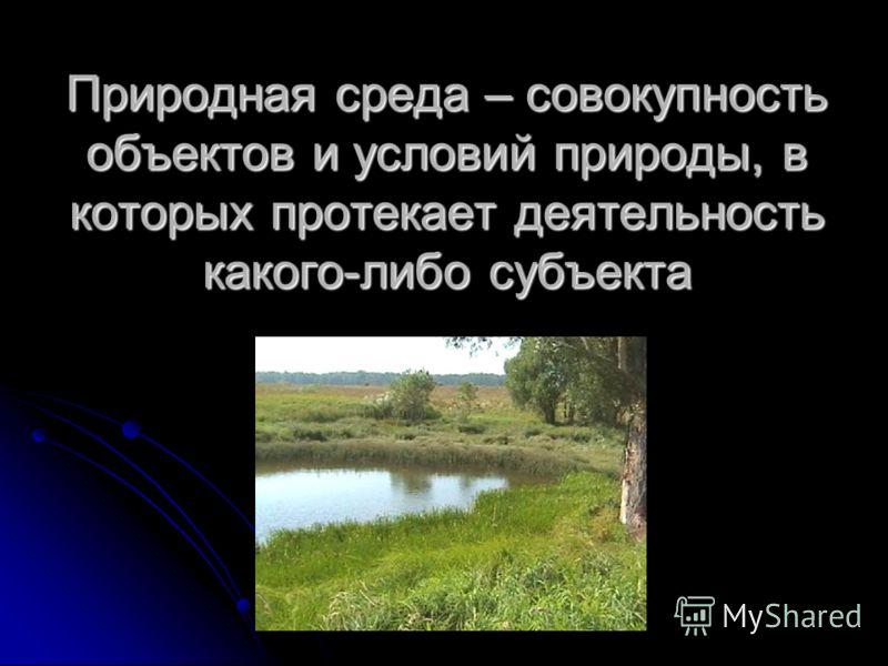 Природная среда – совокупность объектов и условий природы, в которых протекает деятельность какого-либо субъекта