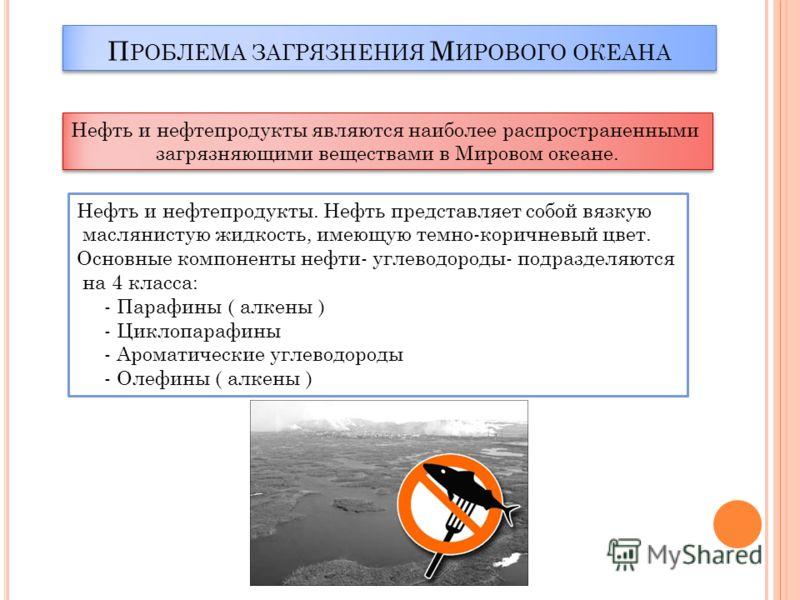 П РОБЛЕМА ЗАГРЯЗНЕНИЯ М ИРОВОГО ОКЕАНА Нефть и нефтепродукты являются наиболее распространенными загрязняющими веществами в Мировом океане. Нефть и нефтепродукты являются наиболее распространенными загрязняющими веществами в Мировом океане. Нефть и н
