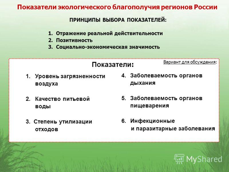 Показатели экологического благополучия регионов России 1.Уровень загрязненности воздуха 2.Качество питьевой воды 3. Степень утилизации отходов Вариант для обсуждения: ПРИНЦИПЫ ВЫБОРА ПОКАЗАТЕЛЕЙ: 1. Отражение реальной действительности 2. Позитивность