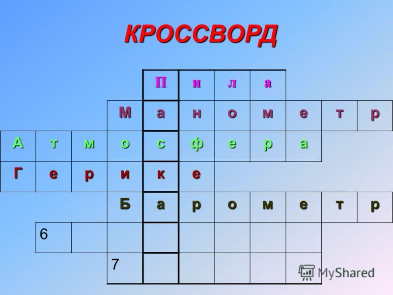 Пила Манометр Атмосфера Герике Барометр 6 7 КРОССВОРД
