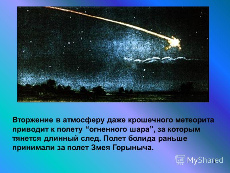 18 Вторжение в атмосферу даже крошечного метеорита приводит к полету огненного шара, за которым тянется длинный след. Полет болида раньше принимали за полет Змея Горыныча.