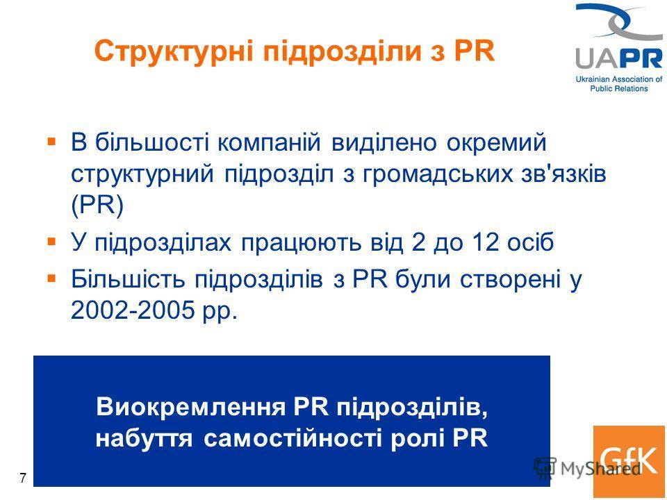 7 Структурні підрозділи з PR В більшості компаній виділено окремий структурний підрозділ з громадських зв'язків (PR) У підрозділах працюють від 2 до 12 осіб Більшість підрозділів з PR були створені у 2002-2005 рр. Виокремлення PR підрозділів, набуття