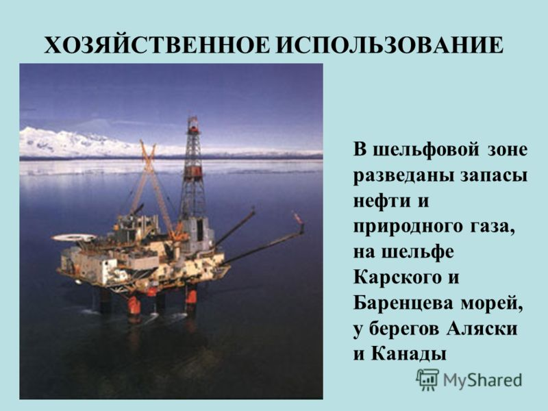 ХОЗЯЙСТВЕННОЕ ИСПОЛЬЗОВАНИЕ В шельфовой зоне разведаны запасы нефти и природного газа, на шельфе Карского и Баренцева морей, у берегов Аляски и Канады