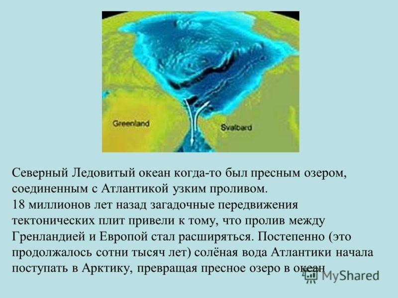 Северный Ледовитый океан когда-то был пресным озером, соединенным с Атлантикой узким проливом. 18 миллионов лет назад загадочные передвижения тектонических плит привели к тому, что пролив между Гренландией и Европой стал расширяться. Постепенно (это