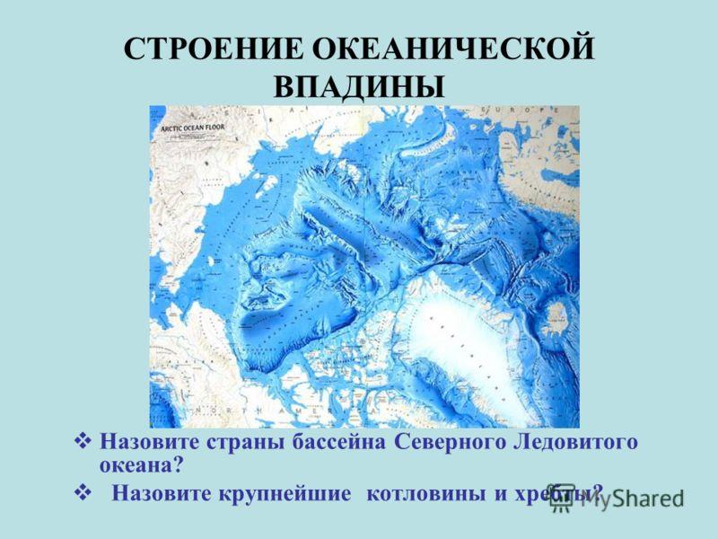 СТРОЕНИЕ ОКЕАНИЧЕСКОЙ ВПАДИНЫ Назовите страны бассейна Северного Ледовитого океана? Назовите крупнейшие котловины и хребты?