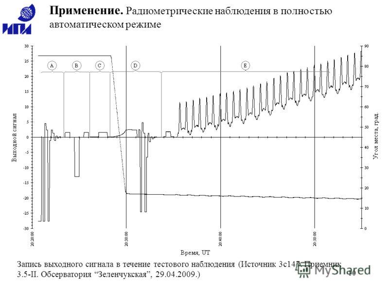 10 Применение. Радиометрические наблюдения в полностью автоматическом режиме Запись выходного сигнала в течение тестового наблюдения (Источник 3c147. Приемник 3.5-II. Обсерватория Зеленчукская, 29.04.2009.)