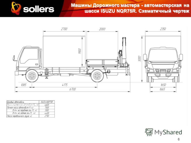 6 Машины Дорожного мастера - автомастерская на шасси ISUZU NQR75R. Схематичный чертеж