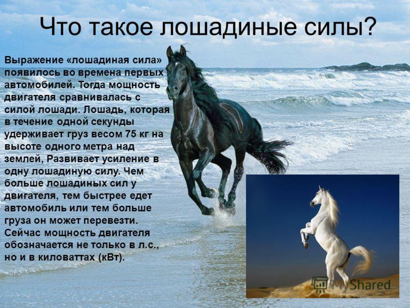Что такое лошадиные силы? Выражение «лошадиная сила» появилось во времена первых автомобилей. Тогда мощность двигателя сравнивалась с силой лошади. Лошадь, которая в течение одной секунды удерживает груз весом 75 кг на высоте одного метра над землей,