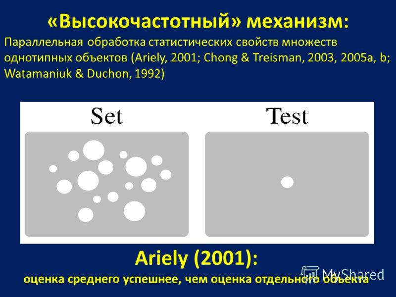 «Высокочастотный» механизм: Параллельная обработка статистических свойств множеств однотипных объектов (Ariely, 2001; Chong & Treisman, 2003, 2005a, b; Watamaniuk & Duchon, 1992) Ariely (2001): оценка среднего успешнее, чем оценка отдельного объекта