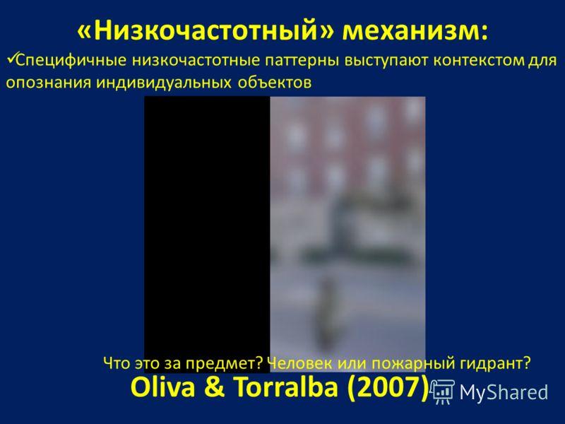 «Низкочастотный» механизм: Специфичные низкочастотные паттерны выступают контекстом для опознания индивидуальных объектов Oliva & Torralba (2007) Что это за предмет? Человек или пожарный гидрант?