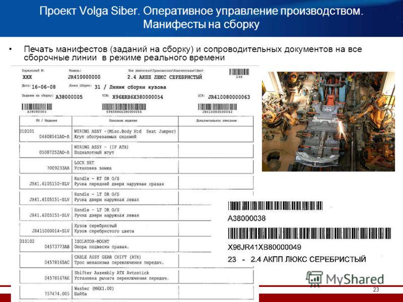 23 Проект Volga Siber. Оперативное управление производством. Манифесты на сборку Печать манифестов (заданий на сборку) и сопроводительных документов на все сборочные линии в режиме реального времени