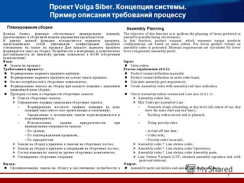 7 Проект Volga Siber. Концепция системы. Пример описания требований процессу Планирование сборки Assembly Planning
