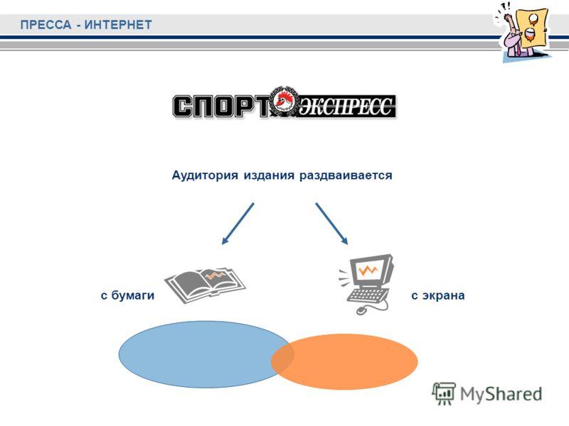 Аудитория издания раздваивается с бумагис экрана ПРЕССА - ИНТЕРНЕТ
