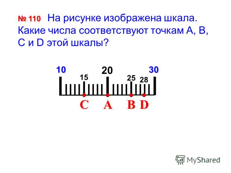 I IIII I IIII I IIII I IIII I 2010 110 110 На рисунке изображена шкала. Какие числа соответствуют точкам А, В, С и D этой шкалы? 30 CBAD 15 25 28