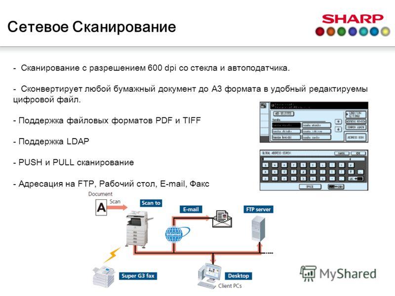 Сетевое Сканирование - Сканиров а ние с разрешением 600 dpi со стекла и автоподатчика. - С к онвертирует лю б ой бумажный д окумент до A3 формата в удобный редактируемы цифровой файл. - Поддержка файловых форматов PDF и TIFF - Поддержка LDAP - PUSH и