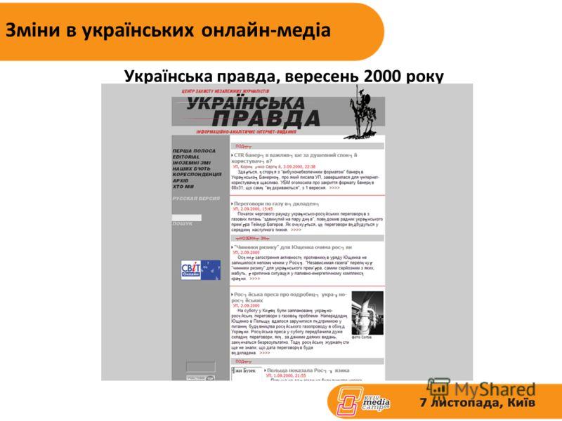 Зміни в українських онлайн-медіа Українська правда, вересень 2000 року