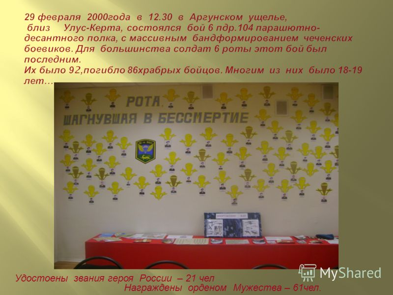 Удостоены звания героя Росcии – 21 чел Награждены орденом Мужества – 61чел.