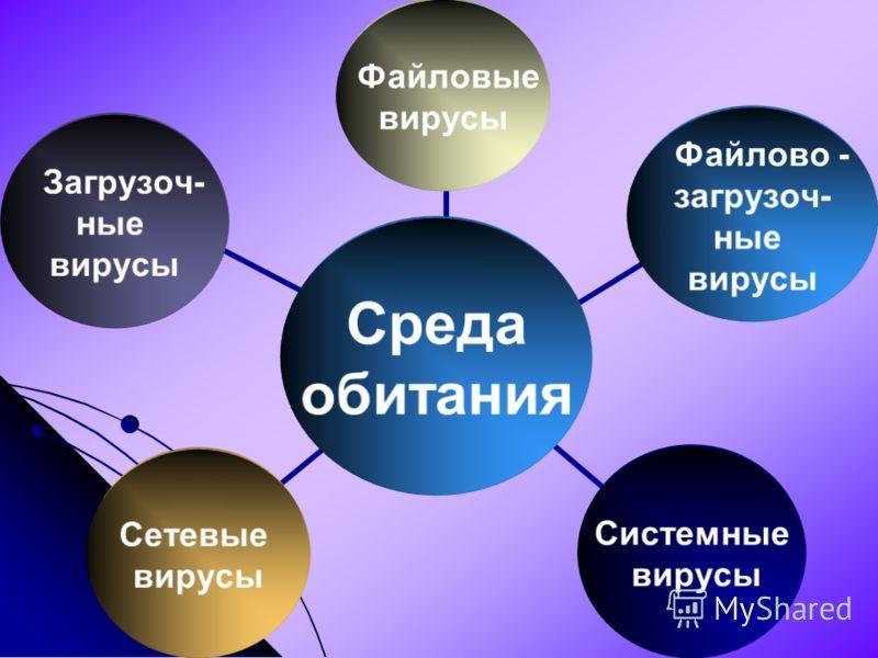 Среда обитания Файловые вирусы Файлово - загрузоч- ные вирусы Системные вирусы Сетевые вирусы Загрузоч- ные вирусы