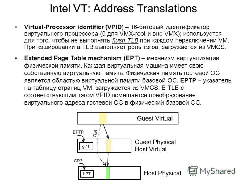 Intel VT: Address Translations Virtual-Processor identifier (VPID) – 16-битовый идентификатор виртуального процессора (0 для VMX-root и вне VMX); используется для того, чтобы не выполнять flush TLB при каждом переключении VM. При кэшировании в TLB вы